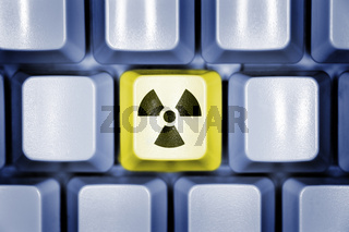 Computertastatur mir Radioaktivitätszeichen