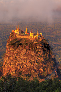 Taung Kalat Monastery on Mt. Popa, Myanmar at sunrise