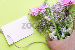 Blank label and flowers