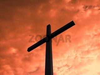 Karfreitag, Kreuz vor rotem Himmel