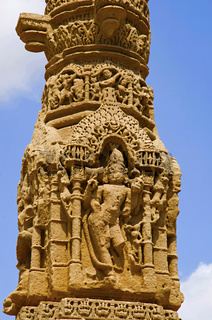 Carving details of the ruins of Kirti Toran, Vadnagar, Gujarat
