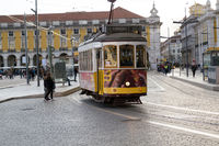 Yellow tram in Lisbon (Portugal)
