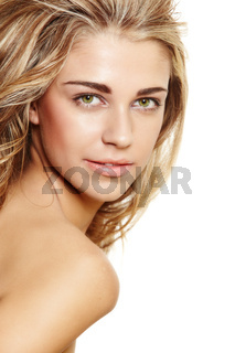 happy natural blond woman