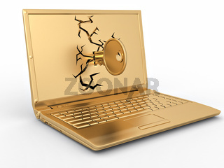 Password hacked. Key in laptop on white isolated background. 3d