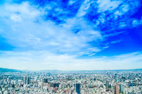 Asia Business concept for real estate and corporate construction - panoramic modern cityscape building bird eye aerial view under sunrise and morning blue bright sky