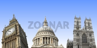 London landmarks isolated: Big Ben, St Paul, Westminster