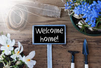Sunny Spring Flowers, Sign, Text Welcome Home