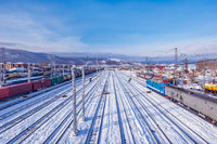 Winter view of Sludanka station. Trans Siberian railway. Russia.
