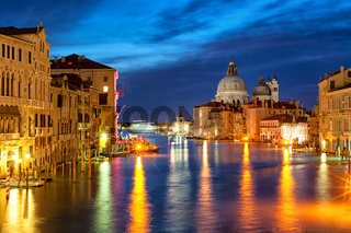 The Grand Canal and Santa Maria della Salute basilica, Venice, Italy, at night
