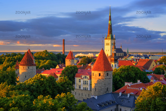 Medieval churches and towers in the old town of Tallinn, Estonia