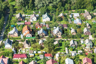 above view of cottages in suburban village