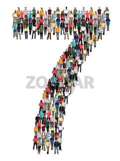 Zahl Ziffer 7 sieben Leute Menschen People Gruppe Menschengruppe