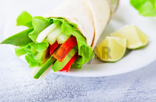Vegetable wrap sandwiches