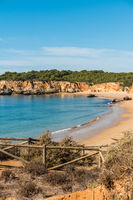Scenic golden cliffs near Alvor, Portimao, Algarve