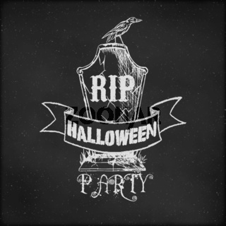 Vintage sketch on blackboard for Halloween Party