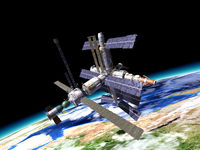 Space station in orbit around Earth.