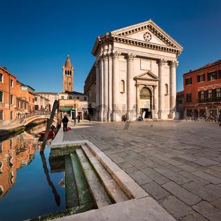 Campo San Barnaba Square and San Barnaba Church in Venice, Italy