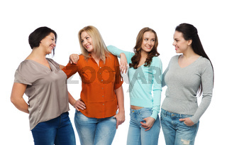 group of happy different women in casual clothes