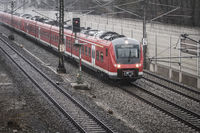 S-Bahn Gernlinden in the rain and storm