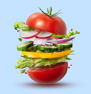 Flying ingredients of vegan burger