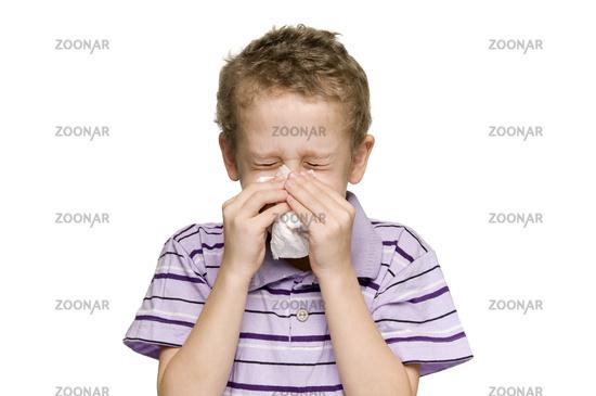 boy blow nose horizontal