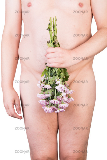 View on the belly of an overweighted male with withered flowers