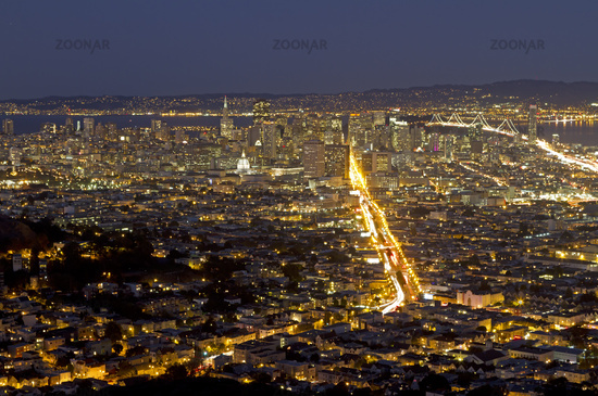 View from Twin Peaks of San Francisco, California,