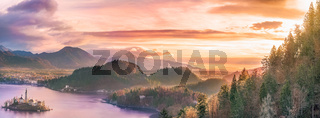Bled island and surrounding hills