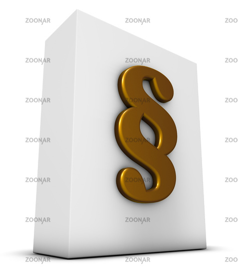 white box with paragraph symbol - 3d rendering