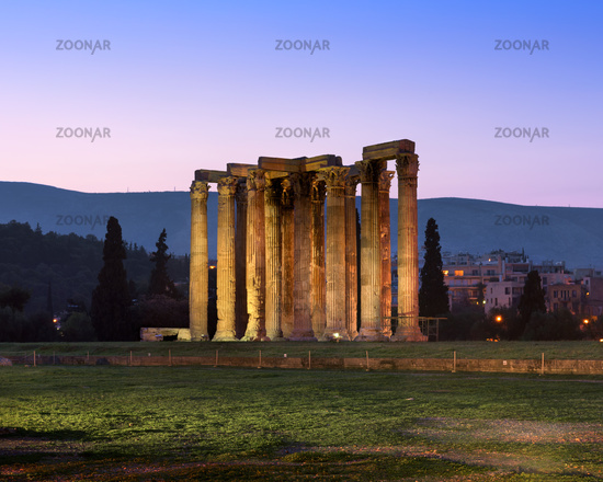 Ruins of Temple of Olympian Zeus in the Morning, Athens, Greece