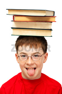 boy on head with books