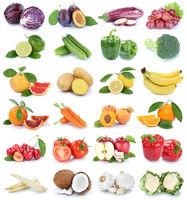 Obst und Gemüse Früchte Apfel Orange Knoblauch Farben frische Collage Freisteller freigestellt isoliert