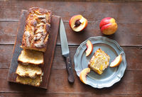 plum and yellow peaches with amaretti baked