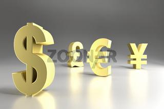 3D rendering of four major currency symbols in golden color - Dollar