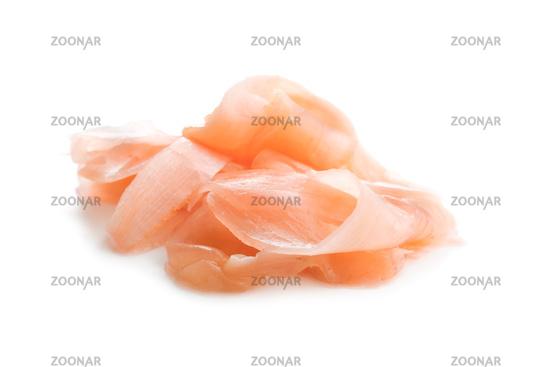 Pickled sushi ginger slices.