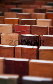 notebooks in leather covers in a souvenir shop