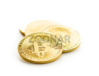 Golden bitcoins. Cryptocurrency.