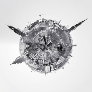 Little planet 360 degree sphere. Riga city skyline, Latvia. Black and white image