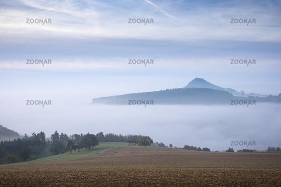 Hegau volcanic landscape in the fog