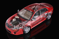 Generic sedan car detailed cutaway representation, with ghost effect.