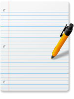 Ball point pen writing drawing on notebook paper background
