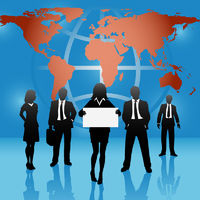 Global map world business people team hold sign
