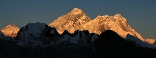 Mount Khumbutse, Everest and Nuptse at sunset