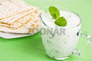 Tzatziki dip and matzo bread