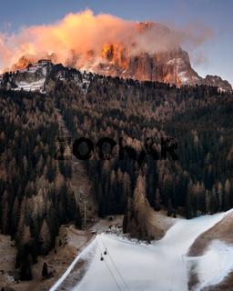 Selva Val Gardena in the Morning, Val Gardena, Dolomites, Italy