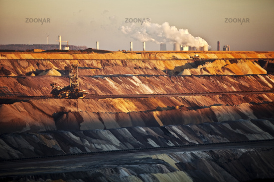 brown coal surface mining with stacker, power plant in background, Garzweiler, Germany, Europe