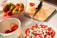 Tomato salad with feta cheese.