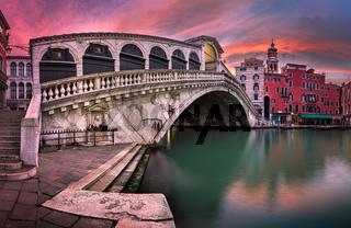 Panorama of Rialto Bridge and San Bartolomeo Church at Sunrise, Venice, Italy