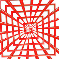 futuristic optic red 3d object on white