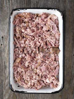 tray of rustic american  barbecued pulled pork